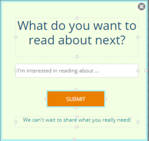 pop-up asking about content