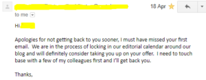 delayed response to follow-up